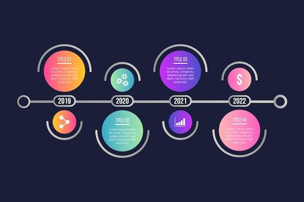 Plantilla de línea de tiempo gradiente de infografía