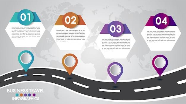 Plantilla de línea de tiempo infografía 4 opciones de diseño con un camino y punteros de navegación