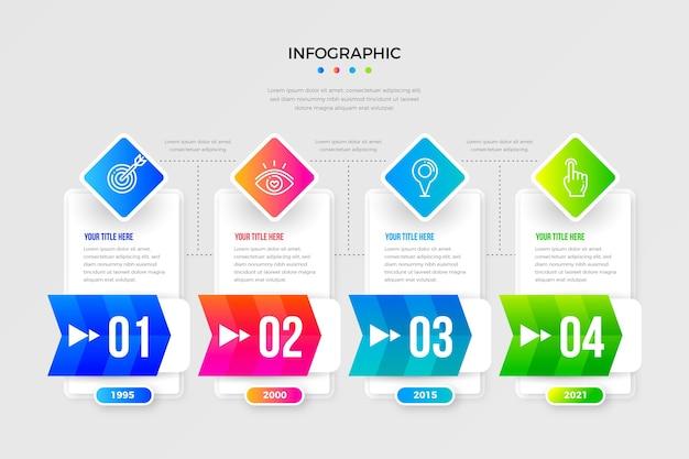 Plantilla de línea de tiempo de infografía degradada