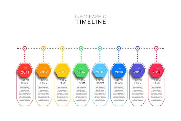 Plantilla de línea de tiempo de infografía con elementos hexagonales realistas en blanco