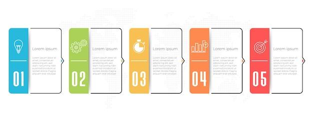Plantilla de línea de tiempo de infografía empresarial 5 opciones.