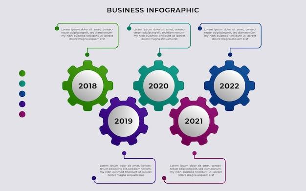 Plantilla de línea de tiempo de infografía empresarial 5 pasos