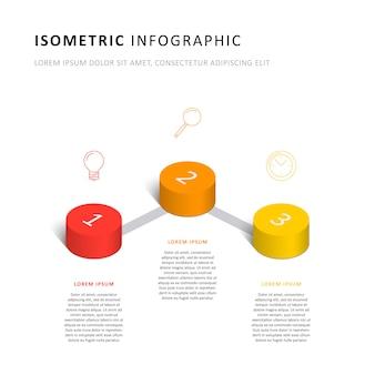 Plantilla de línea de tiempo de infografía isométrica con elementos cilíndricos 3d realistas e iconos de marketing
