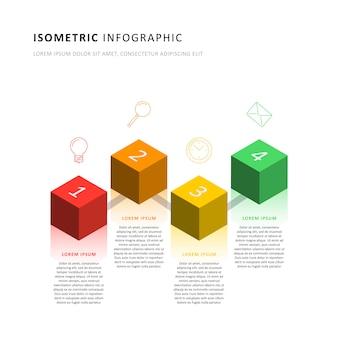 Plantilla de línea de tiempo de infografía isométrica con elementos cúbicos 3d realistas.