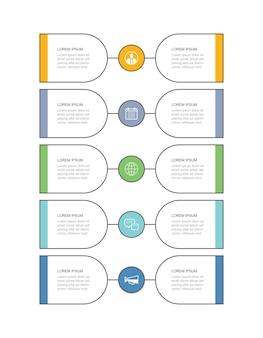 La plantilla de línea de tiempo de línea delgada de la pestaña de infografías de 10 datos se puede utilizar para el paso comercial de diseño de flujo de trabajo