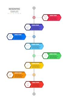 Plantilla de línea de tiempo vertical con ocho elementos hexagonales realistas con iconos de líneas finas sobre fondo blanco.