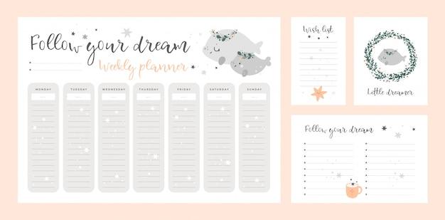 Plantilla de lista de deseos, tarjeta, página del planificador semanal con lindos animalitos. conjunto de impresiones digitales de papelería