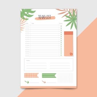 Plantilla de lista de tareas con hojas