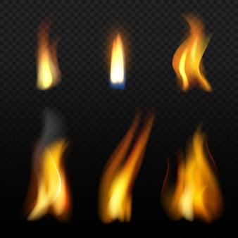 Plantilla de llama de fuego. efectos de fuego realistas a la luz de las velas con humo naranja aislamiento realista
