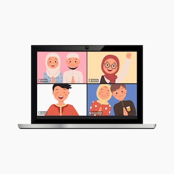 Plantilla de llamada de video conferencia en maqueta portátil. saludo virtual de ramadán en línea debido a la campaña covid19. vector de estilo plano moderno