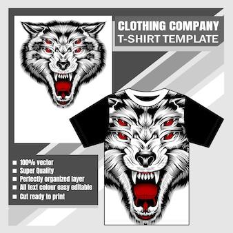 Plantilla con lobo enojado
