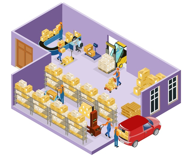 Plantilla logística de almacén isométrico