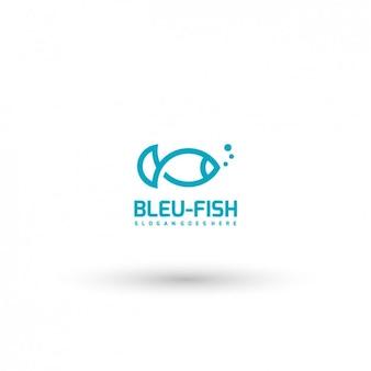 Plantilla de logo azul de pez