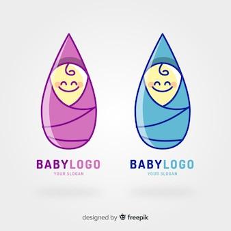 Plantilla de logo con bebe