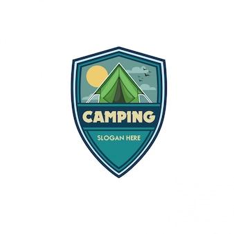 Plantilla logo camping vector illustration