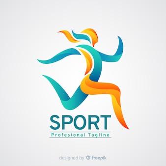 Plantilla de logo de deporte con forma abstracta