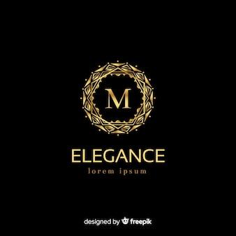 Plantilla de logo dorado elegante con adornos