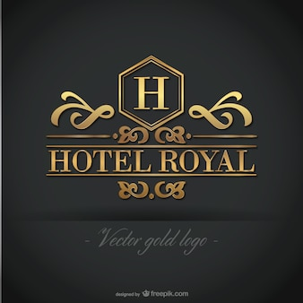 Plantilla de logo dorado de hotel