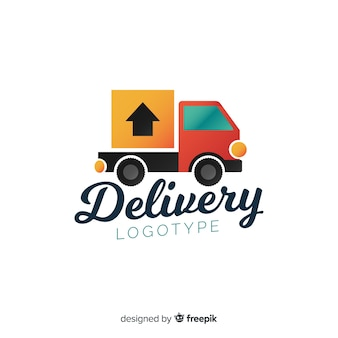 Plantilla de logo de envíos con camión