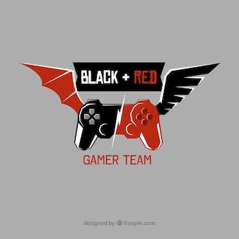 Plantilla de logo de equipo de e-sports con mando y alas