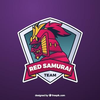 Plantilla de logo de equipo de e-sports con samurai