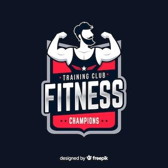 Plantilla de logo de fitness en diseño plano