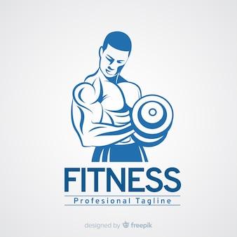 Plantilla de logo de fitness con hombre musculoso