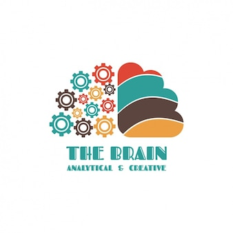 Plantilla de logo con forma de cerebro