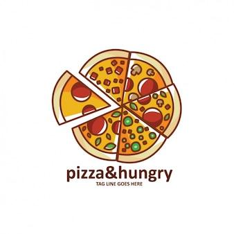 Plantilla de logo con forma de pizza