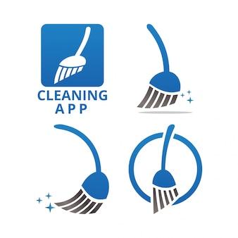 Plantilla de logo y icono de servicio de limpieza