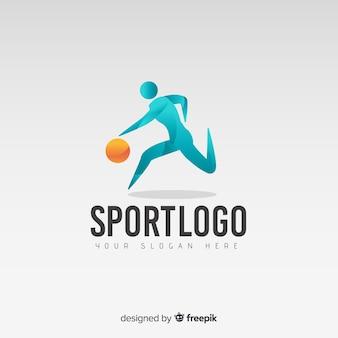 Plantilla de logo o logotipo abstracto con temática de baloncesto