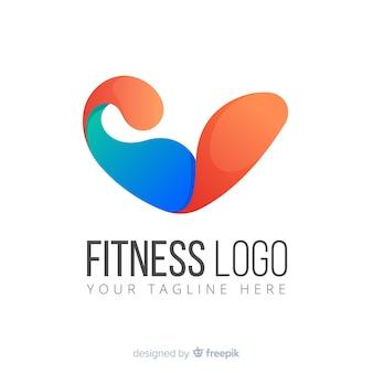 Plantilla de logo o logotipo abstracto con temática de deporte y fitness