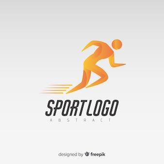 Plantilla de logo o logotipo abstracto con temática de deporte y running