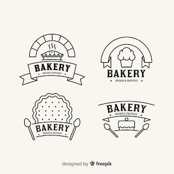 Plantilla de logo de panadería en arte lineal