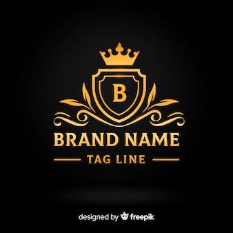 Plantilla logo plano elegante dorado