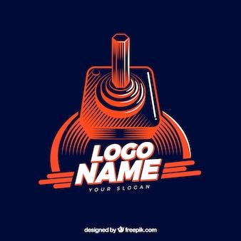 Plantilla de logo de videojuego con estilo retro