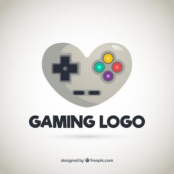Plantilla de logo de videojuego con mando de juego