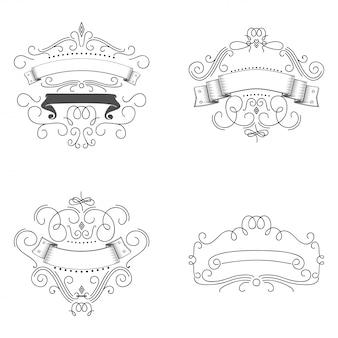 Plantilla de logos florece elementos caligráficos.