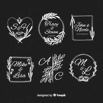 Plantilla de logos floristas de boda decorativos
