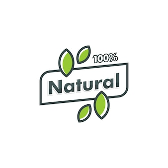 Plantilla de logotipo 100% natural. hoja icono símbolo vector logotipo