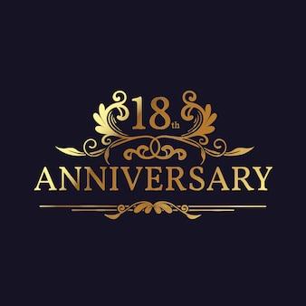 Plantilla de logotipo de 18 aniversario de lujo con adornos dorados