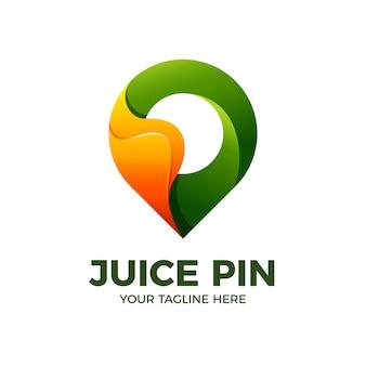 Plantilla de logotipo 3d de aplicación móvil de ubicación de pin de jugo