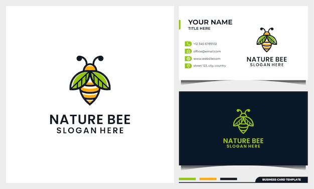 Plantilla de logotipo de abeja de miel con concepto de arte de línea de hoja de ala de naturaleza y plantilla de tarjeta de visita