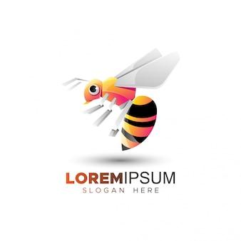 Plantilla de logotipo de abeja plana