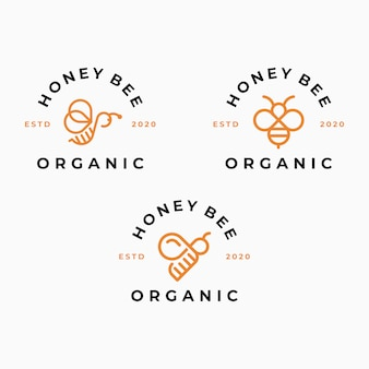 Plantilla de logotipo de abeja