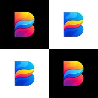 Plantilla de logotipo abstracto color degradado letra b