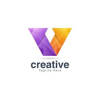 Plantilla de logotipo abstracto creativo vibrante letra v