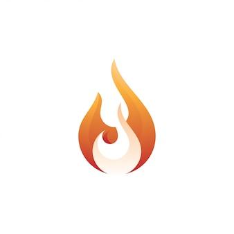 Plantilla de logotipo abstracto llama de fuego