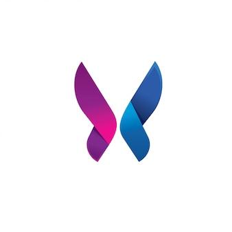 Plantilla de logotipo abstracto mariposa moderna púrpura
