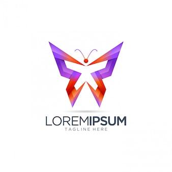 Plantilla de logotipo abstracto mariposa
